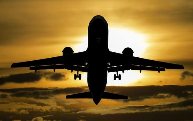 silhouette-of-airplane-during-sunset